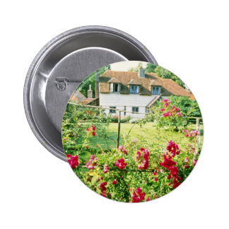 Red Timber-Framed House With Climbing Rose In Fore Pinback Button
