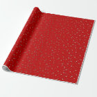Red Tiny Golden Stars Wrapping Paper