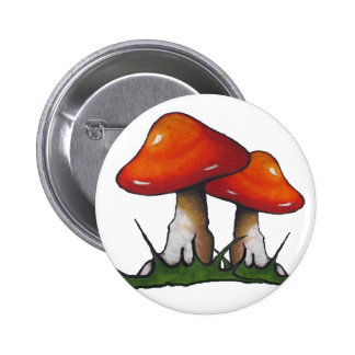 Red Toadstools, Mushrooms: Freehand Marker Art 6 Cm Round Badge