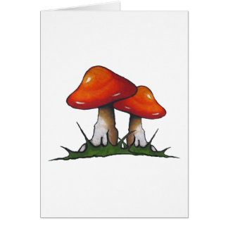 Red Toadstools, Mushrooms: Freehand Marker Art Card