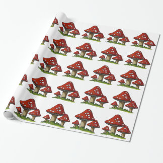 Red Toadstools, Mushrooms: Original Art Wrapping Paper