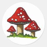 Red Toadtstools, Mushroom: Freehand Art Round Sticker