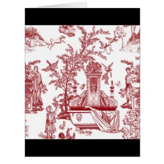 Red Toile Pattern Design Big Greeting Card