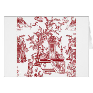Red Toile Pattern Design Note Card