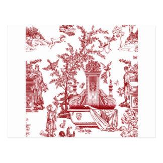 Red Toile Pattern Design Postcard