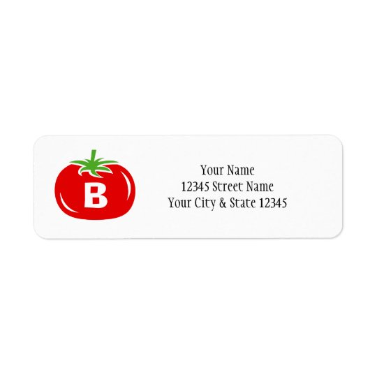 Red tomato custom monogram return address labels