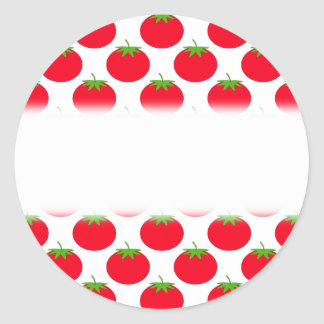Red Tomato Pattern. Classic Round Sticker