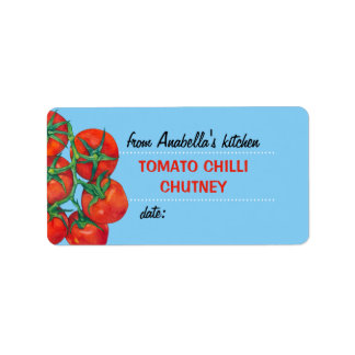 Red Tomatoes blue 2 Kitchen Preserves Label