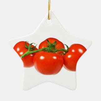 Red tomatoes ceramic star decoration