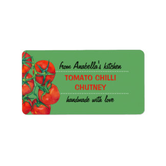 Red Tomatoes green Kitchen Preserves Label