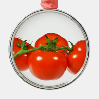 Red tomatoes Silver-Colored round decoration