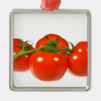 Red tomatoes Silver-Colored square decoration