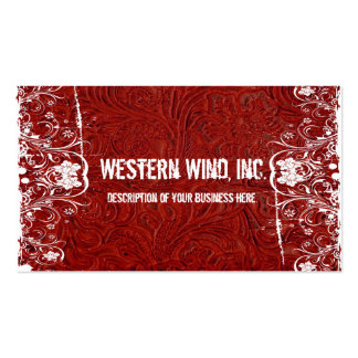 Red Tooled Leather and Lace Business Card