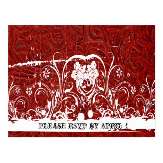 Red Tooled Leather RSVP Postcard