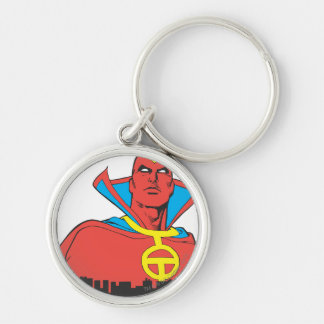 Red Tornado Behind Cityscape Silver-Colored Round Key Ring