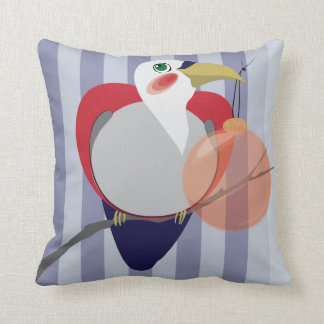 Red Toucan with Christmas Ornament Modern Pillow
