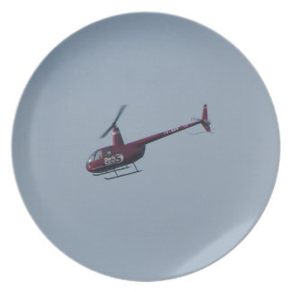 Red tourist helicopter. plate