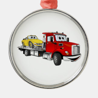 Red Tow Truck Flatbed Cartoon Christmas Ornament