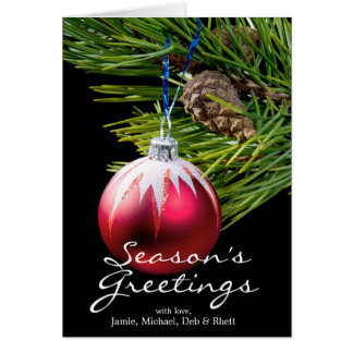 red toy cristmas tree greeting card