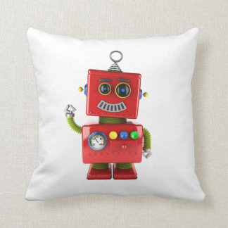 Red toy robot waving hello cushion