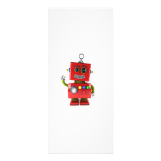 Red toy robot waving hello personalized rack card