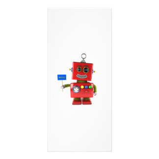 Red toy robot with hello sign customised rack card