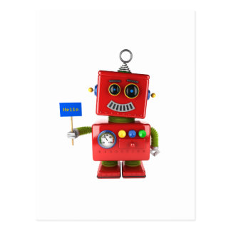 Red toy robot with hello sign postcard