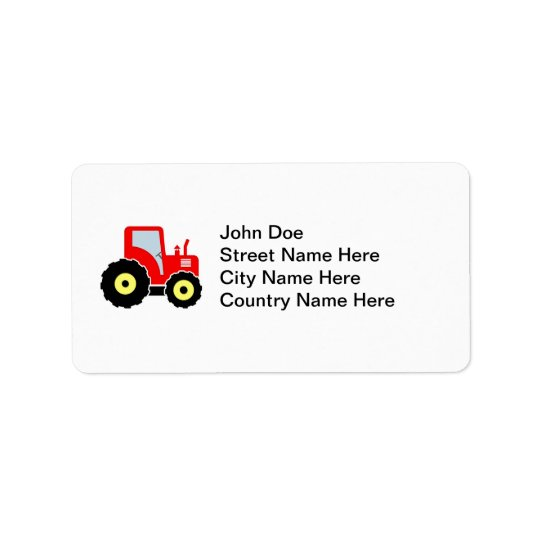 Red toy tractor address label