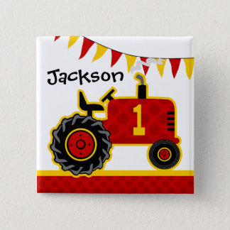 Red Tractor 1st Birthday 15 Cm Square Badge