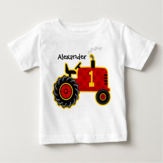 Red Tractor 1st Birthday Personalized Baby T-Shirt
