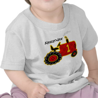 Red Tractor 1st Birthday Personalized Shirts