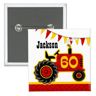 Red Tractor 60th Birthday 15 Cm Square Badge