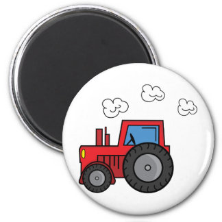 Red Tractor 6 Cm Round Magnet