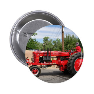 Red Tractor Pinback Button
