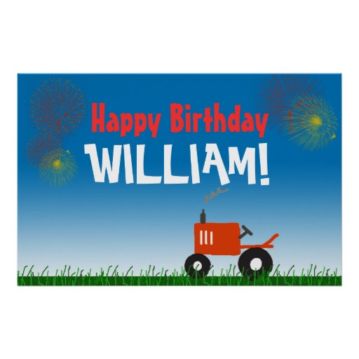 Red Tractor Birthday Party Poster