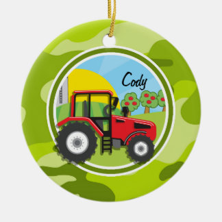 Red Tractor; bright green camo, camouflage Christmas Ornament