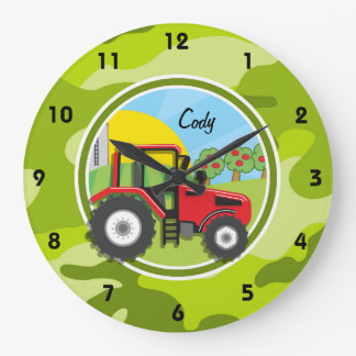 Red Tractor; bright green camo, camouflage Wall Clock