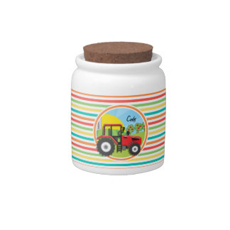 Red Tractor; Bright Rainbow Stripes Candy Dishes