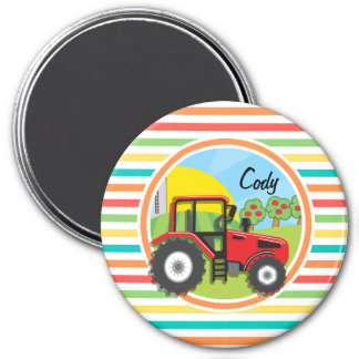 Red Tractor Bright Rainbow Stripes Fridge Magnet