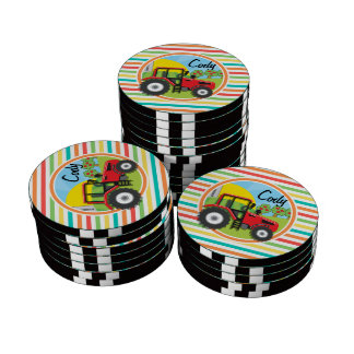 Red Tractor; Bright Rainbow Stripes Poker Chips