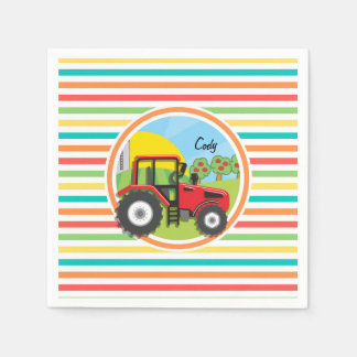Red Tractor; Bright Rainbow Stripes Paper Napkins