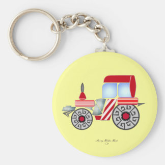Red Tractor Key Ring Basic Round Button Key Ring