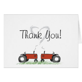 Red Tractor Love Thank-You Card