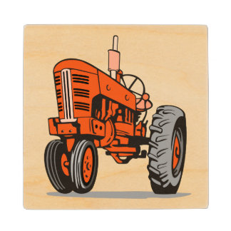 RED TRACTOR WOOD COASTER