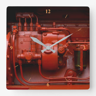 Red Tractor Motor Square Wall Clock