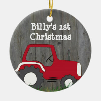 Red Tractor Ornament: Add Photo & Year Christmas Ornament