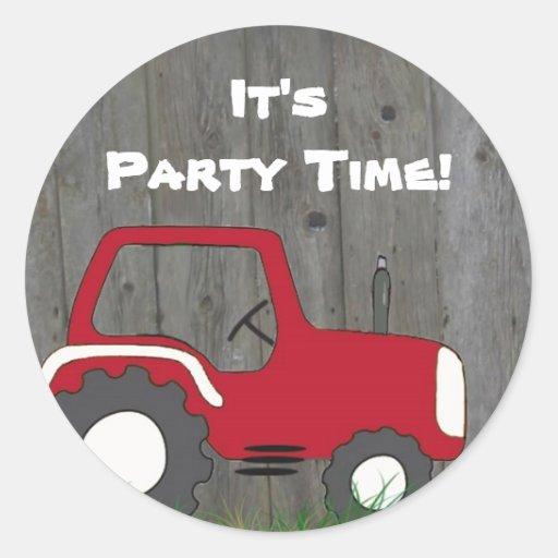 Red Tractor Party Envelope Seals Round Sticker