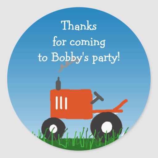 Red Tractor Party Favor Bag Sticker