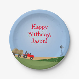 Red Tractor Party Plates 7 Inch Paper Plate