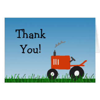 Red Tractor Party Thank You Note Card